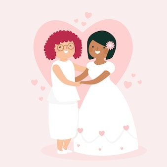 Colorido concepto de pareja de boda