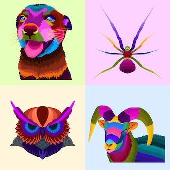 Colorido conjunto de animales de arte pop.