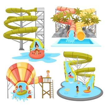 Colorido conjunto de aquapark