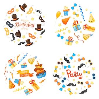 Colorido conjunto de artículos de fiesta en blanco