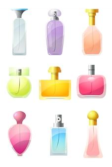 Colorido conjunto de botellas perfumadas. ilustración en estilo plano de dibujos animados