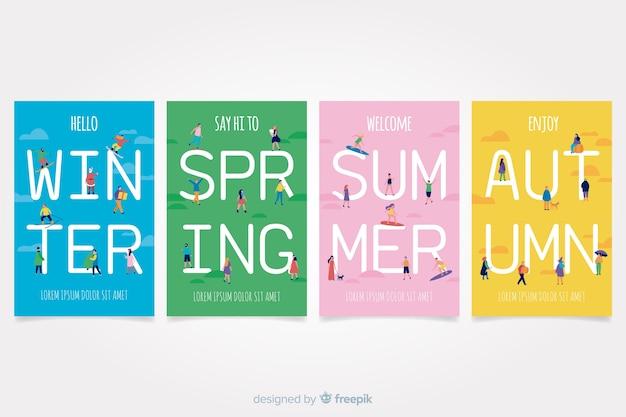 Colorido conjunto de carteles estacionales dibujados a mano