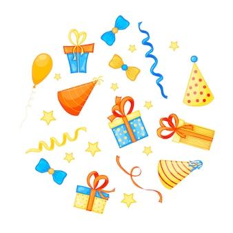 Colorido conjunto de elementos de fiesta en blanco evento de celebración y feliz cumpleaños. multicolor. vector