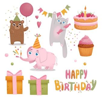 Colorido conjunto de feliz cumpleaños. lindo elefante, gato, oso y caja de regalo