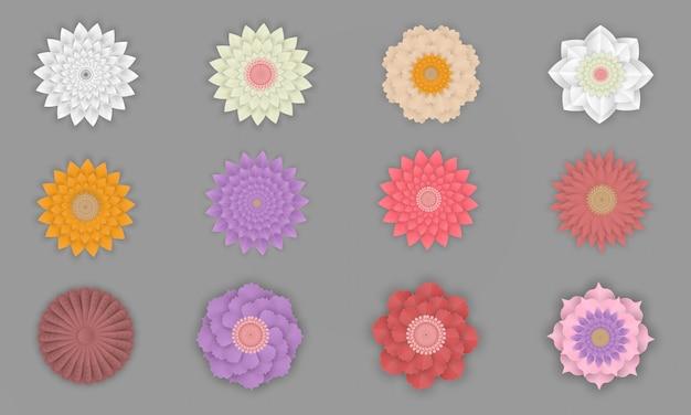 Colorido conjunto de flores en el arte de papel aislado
