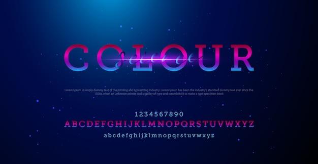 Colorido conjunto de fuentes de letras y números