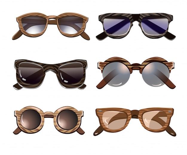 Colorido conjunto de gafas de sol hipster de moda