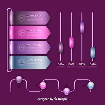 Colorido conjunto de gráficos infográficos