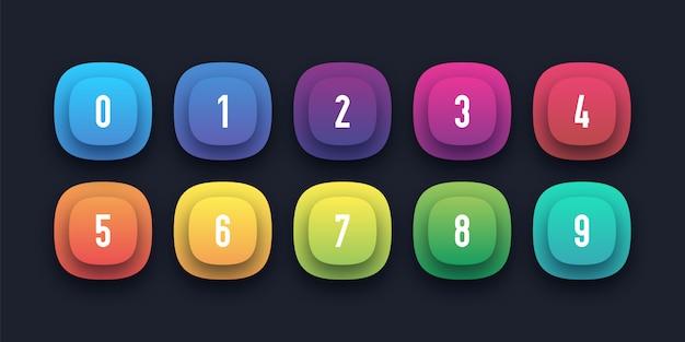 Colorido conjunto de iconos con número de viñeta del 1 al 10
