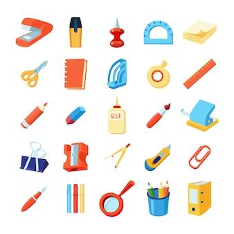 Colorido conjunto de iconos de papelería