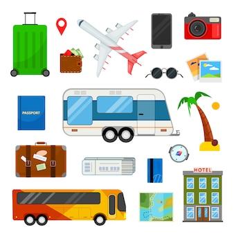 Colorido conjunto de iconos para viajar en estilo plano en blanco