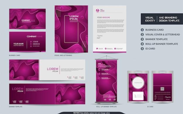Colorido conjunto de identidad de marca visual estacionaria rosa.