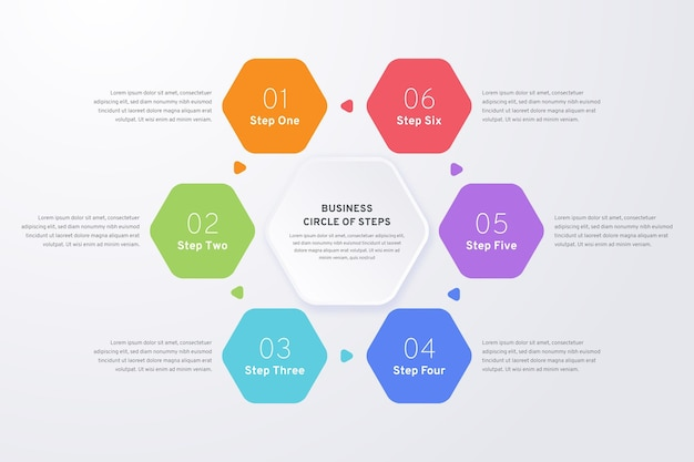 Colorido conjunto de infografía de pasos