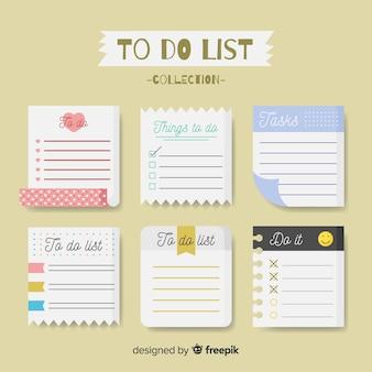 Colorido conjunto de listas to do