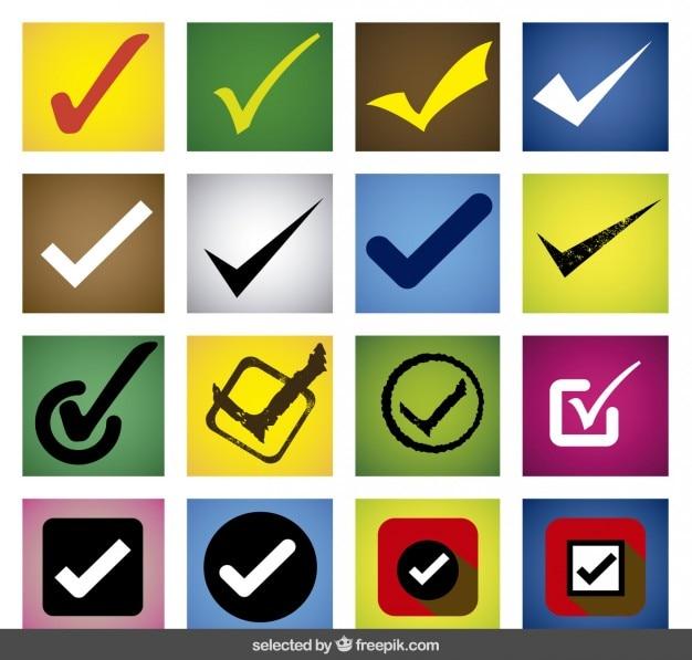 Colorido conjunto de marca de verificación