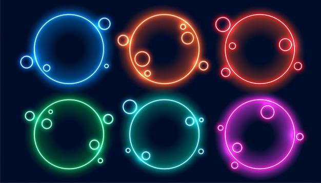 Colorido conjunto de marcos de neón circular de seis