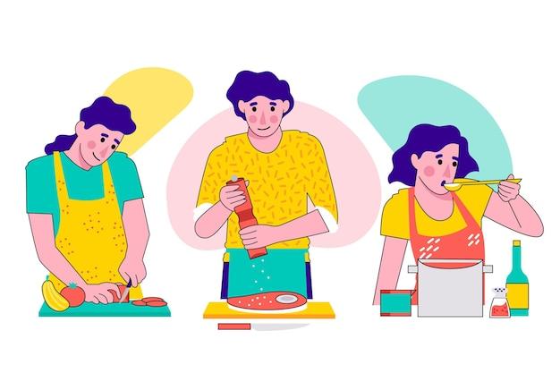 Colorido conjunto de personas cocinando