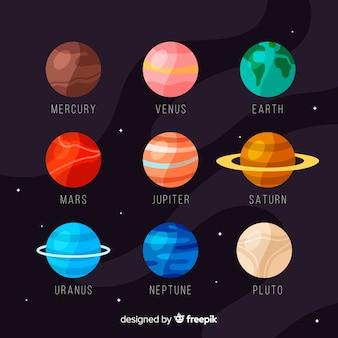 Colorido conjunto de planetas planos