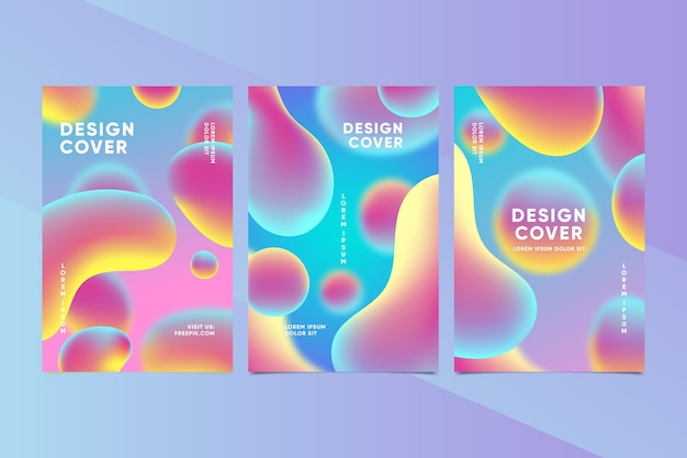 Colorido conjunto de portadas creativas