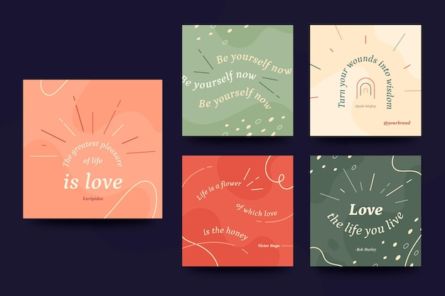 Colorido conjunto de publicaciones de instagram de citas motivacionales