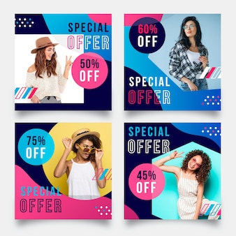 Colorido conjunto de publicaciones de instagram de venta