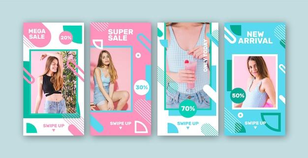 Colorido conjunto de publicaciones de instagram de ventas