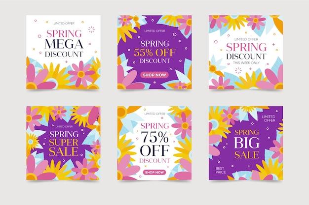 Colorido conjunto de publicaciones de venta de primavera de instagram