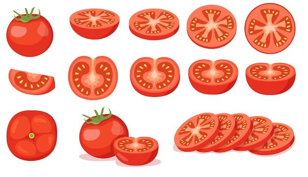 Colorido conjunto de tomates rojos cortados y completos. ilustración de dibujos animados