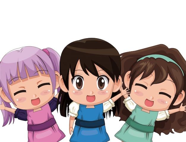 Colorido conjunto de tres medios cuerpo lindo anime adolescentes niñas expresión facial