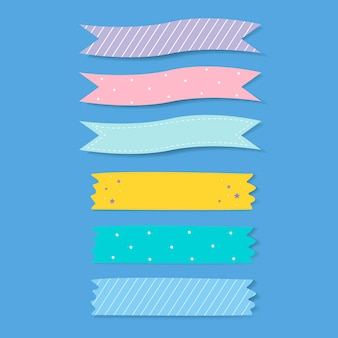 Colorido conjunto de vectores de cinta adhesiva estampada