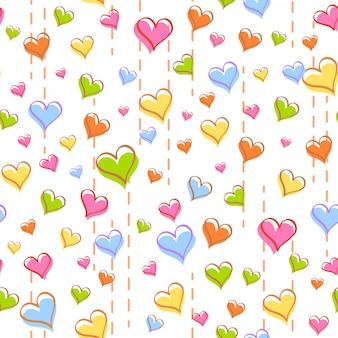 Colorido corazón y línea de patrones sin fisuras