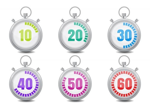 Colorido cronómetro conjunto de iconos. ilustración de vector de estilo plano