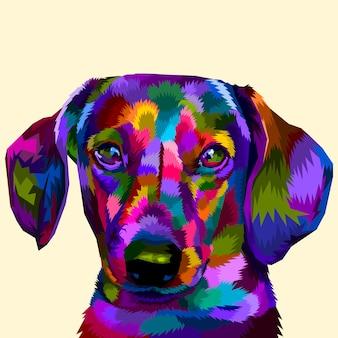 Colorido daschund en el arte pop