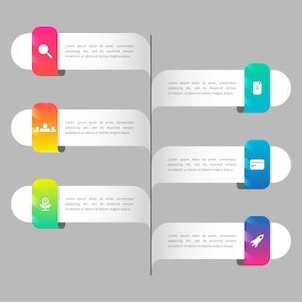 Colorido degradado línea de tiempo infografía
