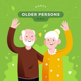 Colorido día internacional de las personas mayores