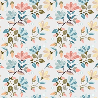 Colorido dibujado a mano flores de patrones sin fisuras diseño vectorial se puede usar para papel tapiz textil de tela.