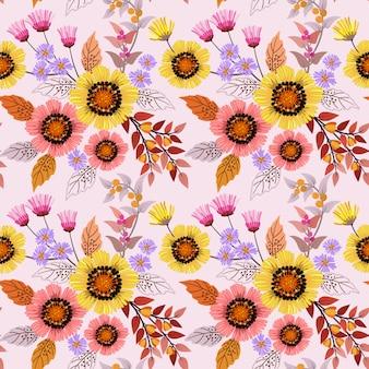 Colorido dibujado a mano flores de patrones sin fisuras diseño vectorial. se puede usar para papel tapiz textil de tela.
