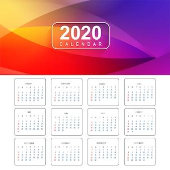 Colorido diseño de calendario año nuevo 2020
