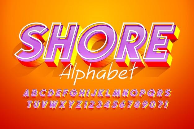 Colorido diseño de fuente de pantalla 3d, alfabeto, letras