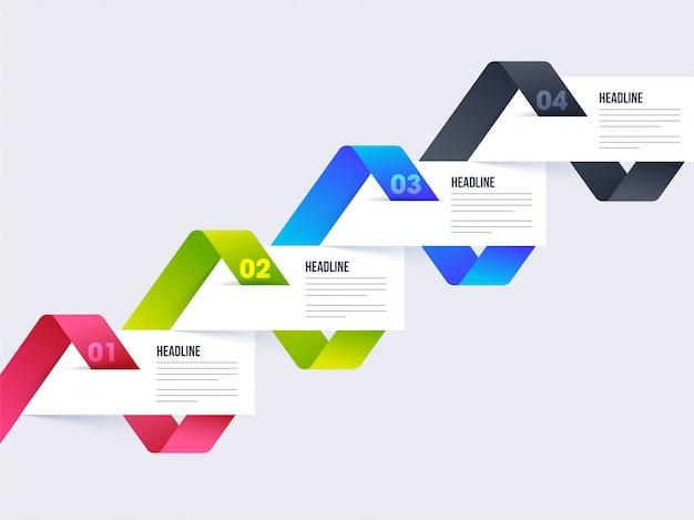 Colorido diseño de infografía timeline con plantilla de cuatro pasos