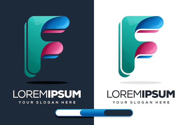 Colorido diseño de logotipo letra f
