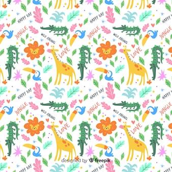 Colorido diseño de patrón infinito de animales