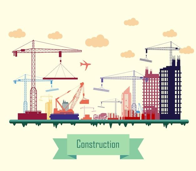Colorido diseño plano del sitio de construcción de la ciudad