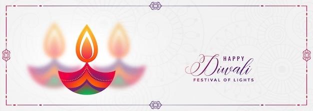 Colorido diwali diya festival decorativo banner