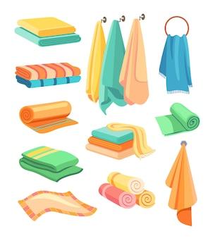 Colorido y elegante kit de iconos planos de toallas de baño y cocina
