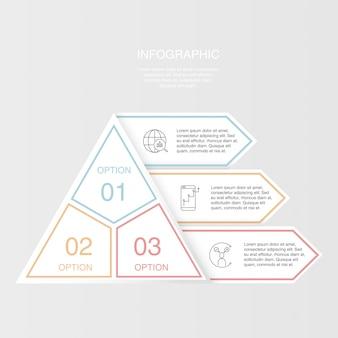 Colorido elemento tres de infografía triángulo pirámide.