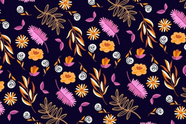 Colorido estampado floral ditsy sobre fondo oscuro