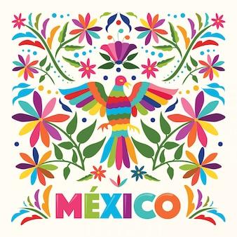 Colorido estilo de bordado textil tradicional mexicano de tenango, hidalgo; méxico - copia espacio composición floral con pájaro