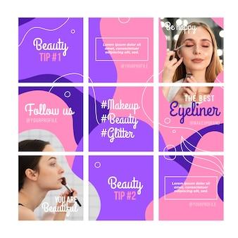 Colorido feed de rompecabezas de instagram con nueve plantillas