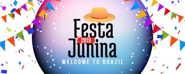Colorido festa junina festival celebración banner
